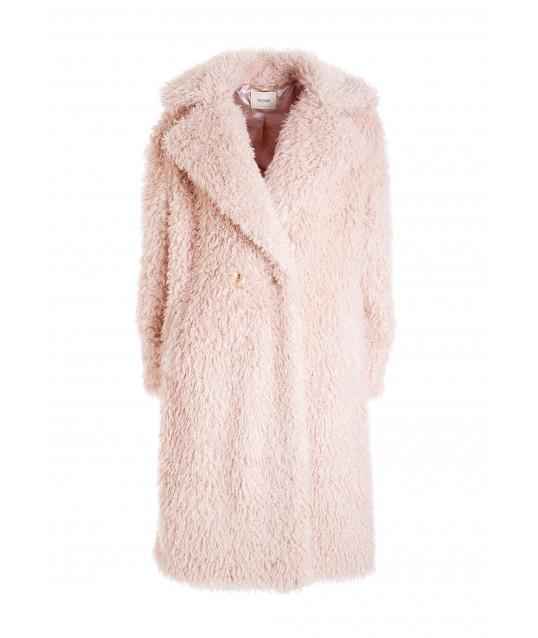 Regular Coat In Eco Fur Mongolia Effect Fracomina