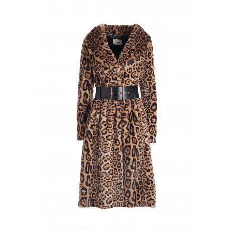 Wide Long Coat In Eco Fur In Animalier Pattern Fracomina