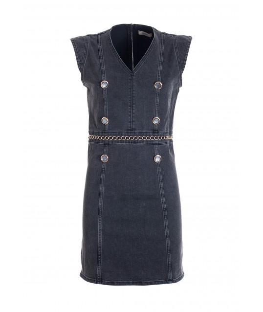 Tight-fitting Mini Dress In Black Denim With Medium Wash Fracomina