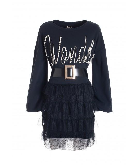 Regular Mini Sweatshirt Dress With Fracomina Lace Flounced Skirt