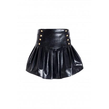 Wide Mini Skirt In Eco Leather Crocodile Print Effect Fracomina