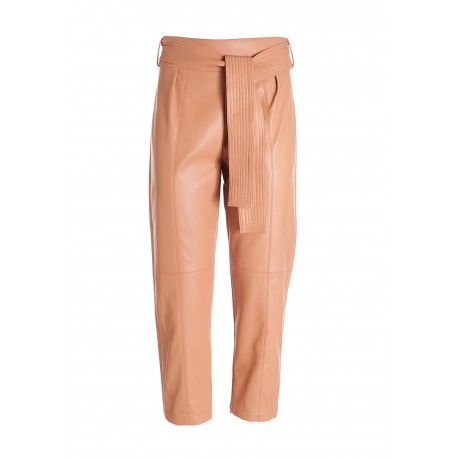 Cropped Trousers In Eco Leather Fracomina