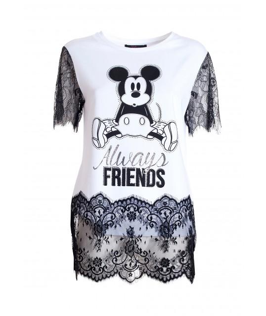 T-shirt With Macramé And Disney Fracomina Print