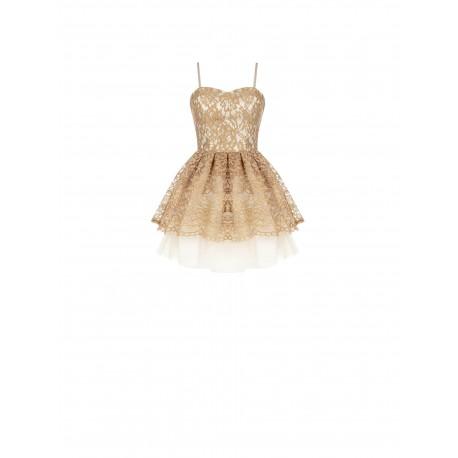 Short Dress With Flounces In Renaissance Lace