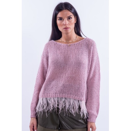 Laminated Sweater With Guess Feathers