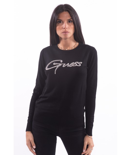 Sweater With Guess Logo And Precious Stones
