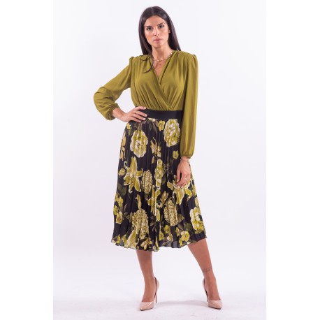 Dress With Pleated Skirt Green Oil Rinascimento