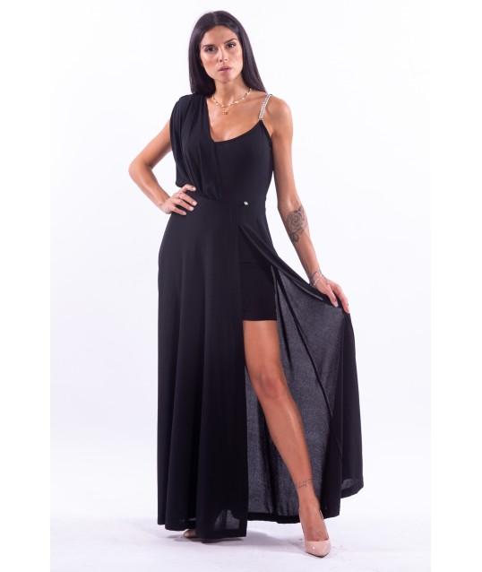 Asymmetrical Dress With Black Renaissance Panel
