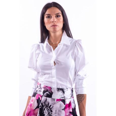 Camicia con Polsino Alto Off-White