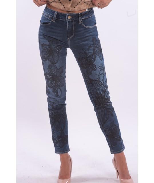 Jeans Con Fantasia Floreale Fracomina