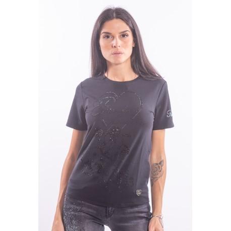 T-Shirt con Strass Fracomina