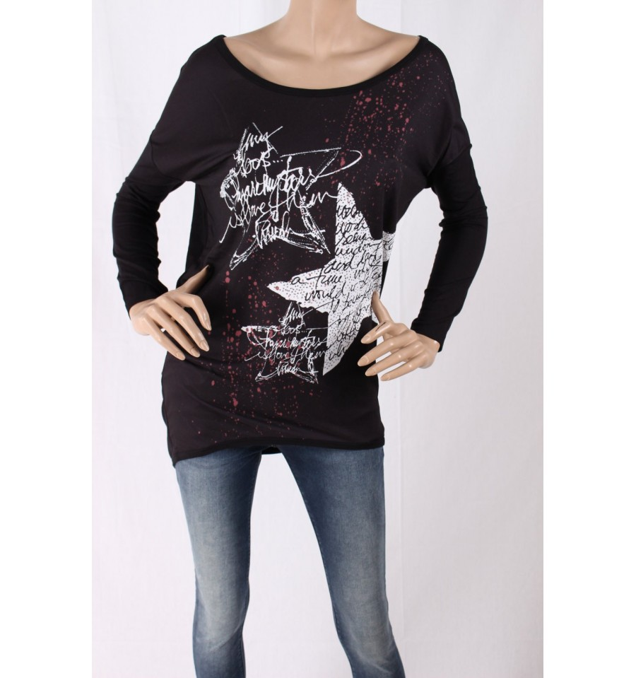 5b8f2859e3841d Shirt With Print And Rhinestones Ironic - Vestiti Firmati Life Smiles