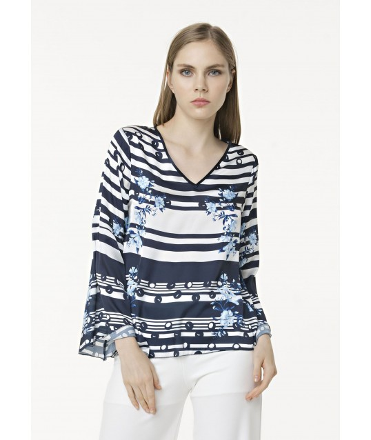 Top Printed With Bell Sleeves Fracomina