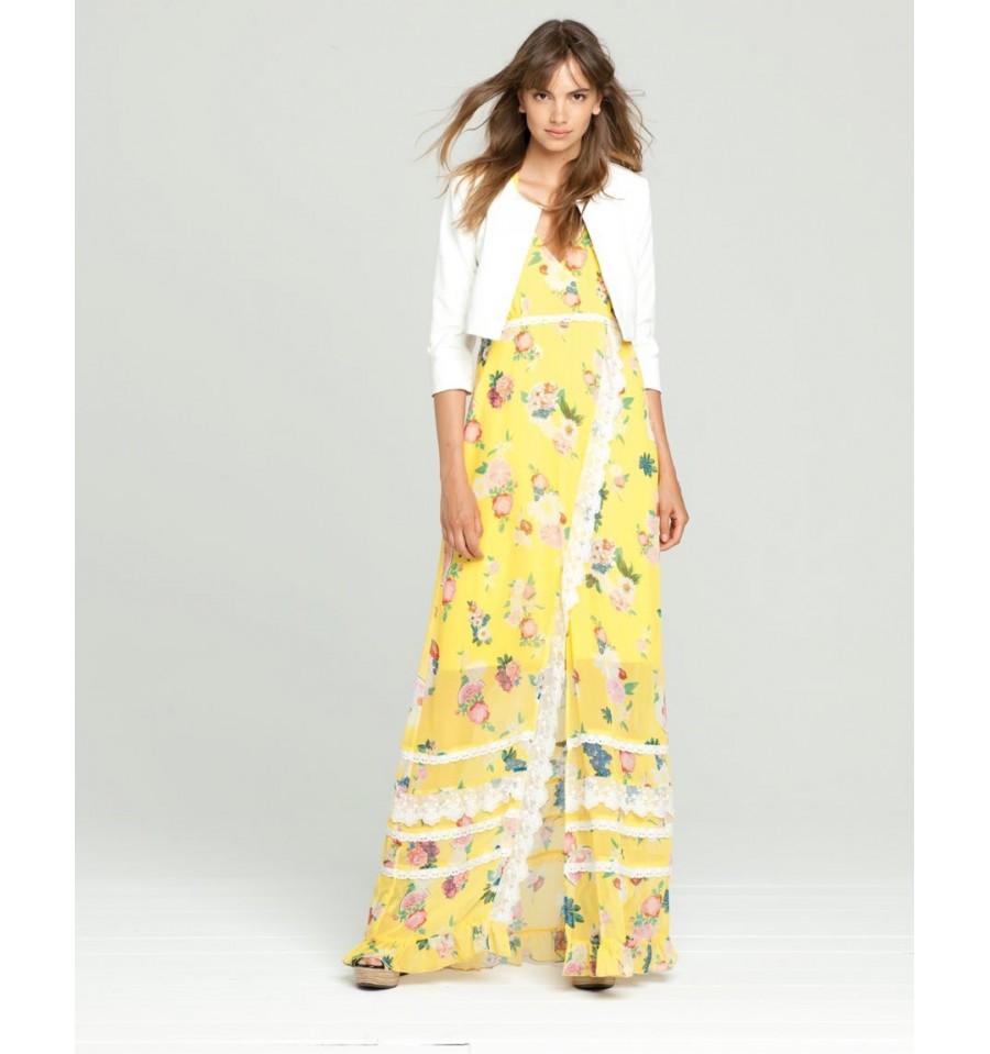 Long Yellow Dress Fancy Fracomina - Vestiti Firmati Life Smiles c98fa7aaf89