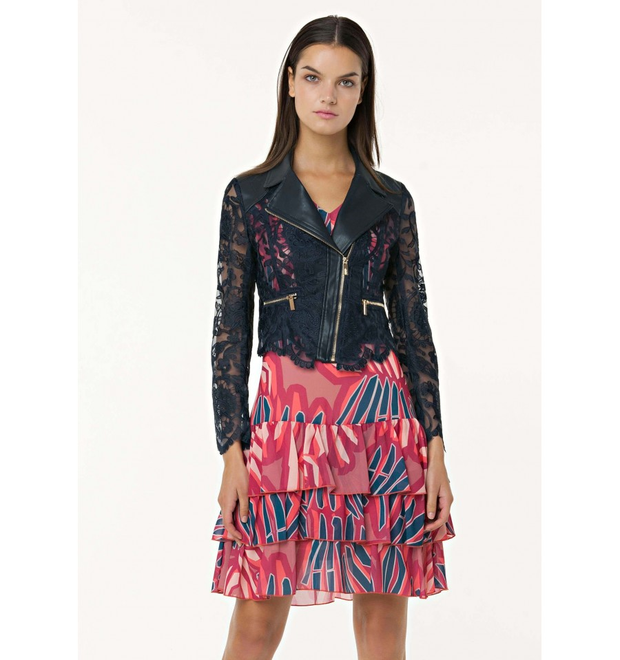 Jacket Pattern Biker With Lace Fracomina - Vestiti Firmati Life Smiles 746567b27d1