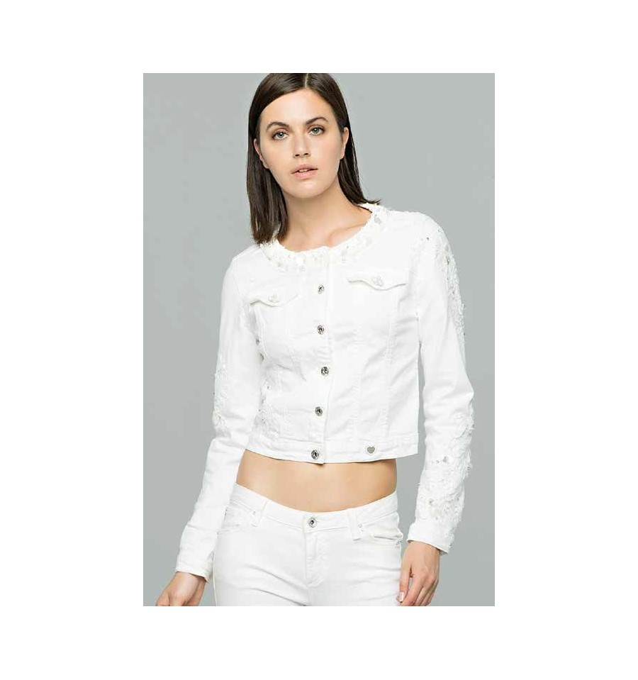 miglior sito web e5d77 c0090 Giacca In Jeans Bianca Fracomina