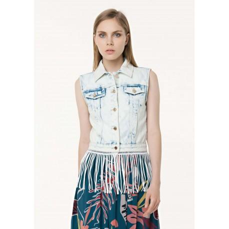Smanicato In Jeans Con Frange Fracomina