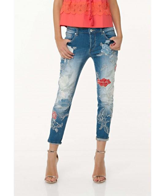 Jeans Boyfriend Cropped Con Ricamo Fracomina