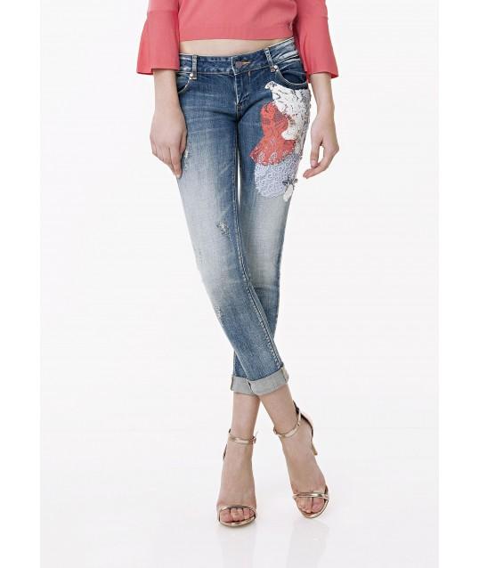 Jeans Super Skinny Con Applicazioni Fracomina