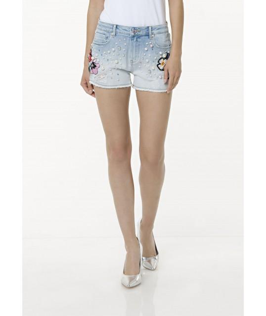 Pantaloncini In Denim Con Applicazioni Fracomina