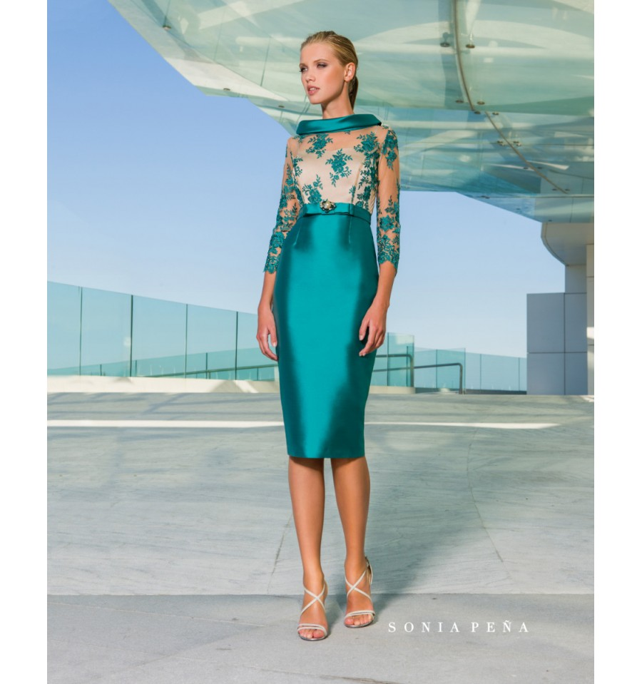 cheap sale good out x wholesale online Dress With Embroidery Emerald Sonia Peña - Vestiti Firmati ...