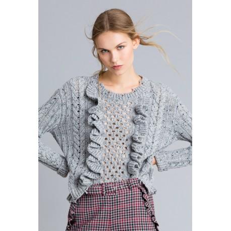 Maglia In Tweed Con Ruches Le Coeur Twinset