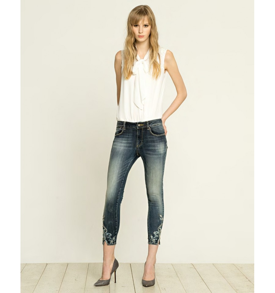 Jeans Cropped Embroidered Fracomina - Vestiti Firmati Life Smiles 57c23bac959
