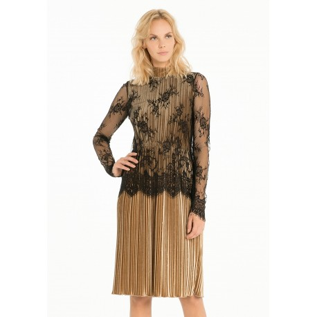 Pleated Dress With Lace Fracomina