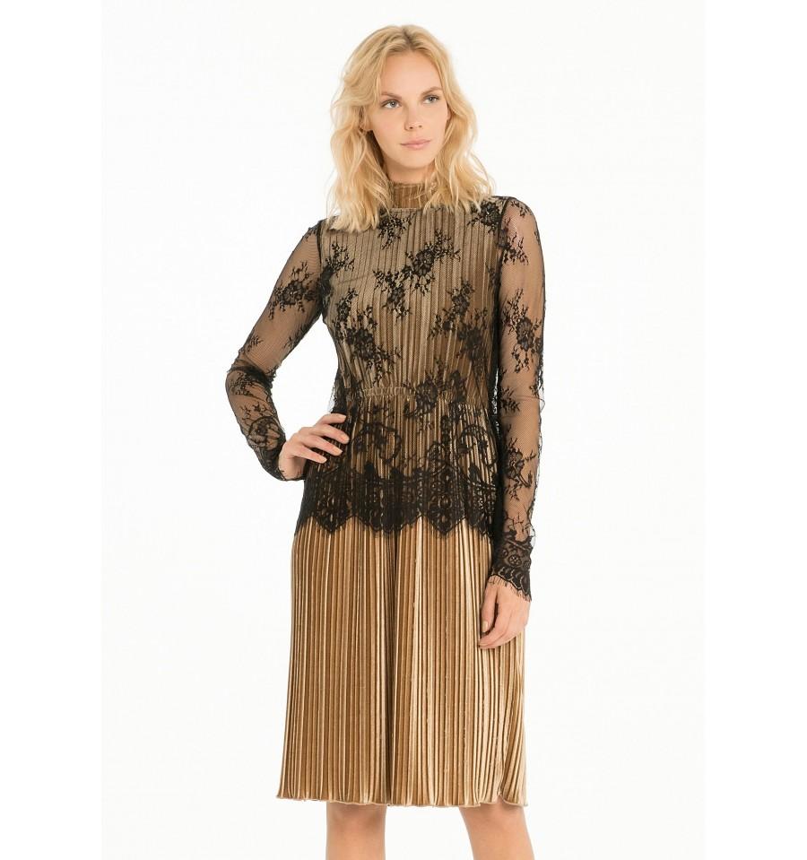 Pleated Dress With Lace Fracomina - Vestiti Firmati Life Smiles ab623d8e753